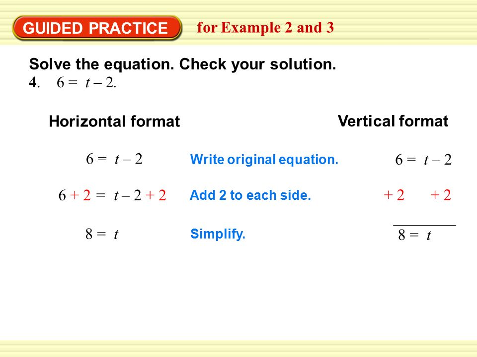 GUIDED PRACTICE for Example 2 and = t – 2.