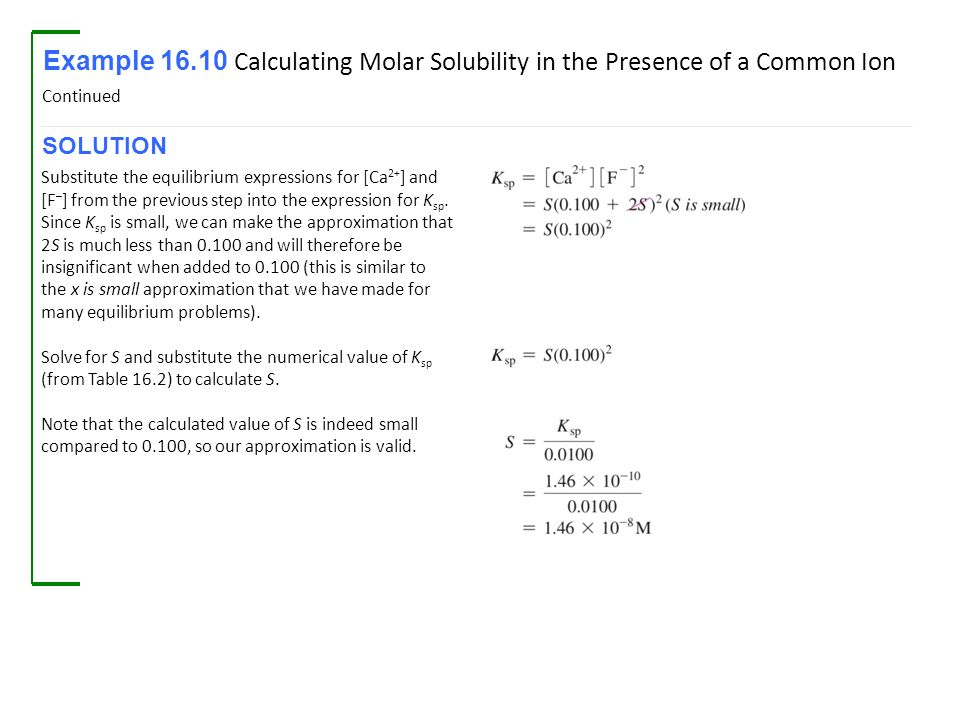 Solubility Equilibrium Example 16 8 Calculating Molar