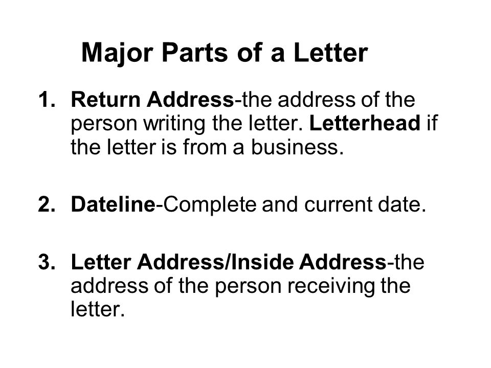 Letters keyboarding objective403 apply correct letter formatting major parts of a letter 1turn address the address of the person writing thecheapjerseys Choice Image