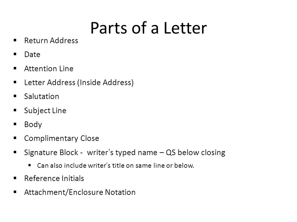 parts of a letter return address date attention line letter address