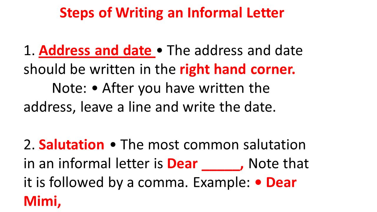 Steps Of Writing An Informal Letter 1 Address And Date The Address