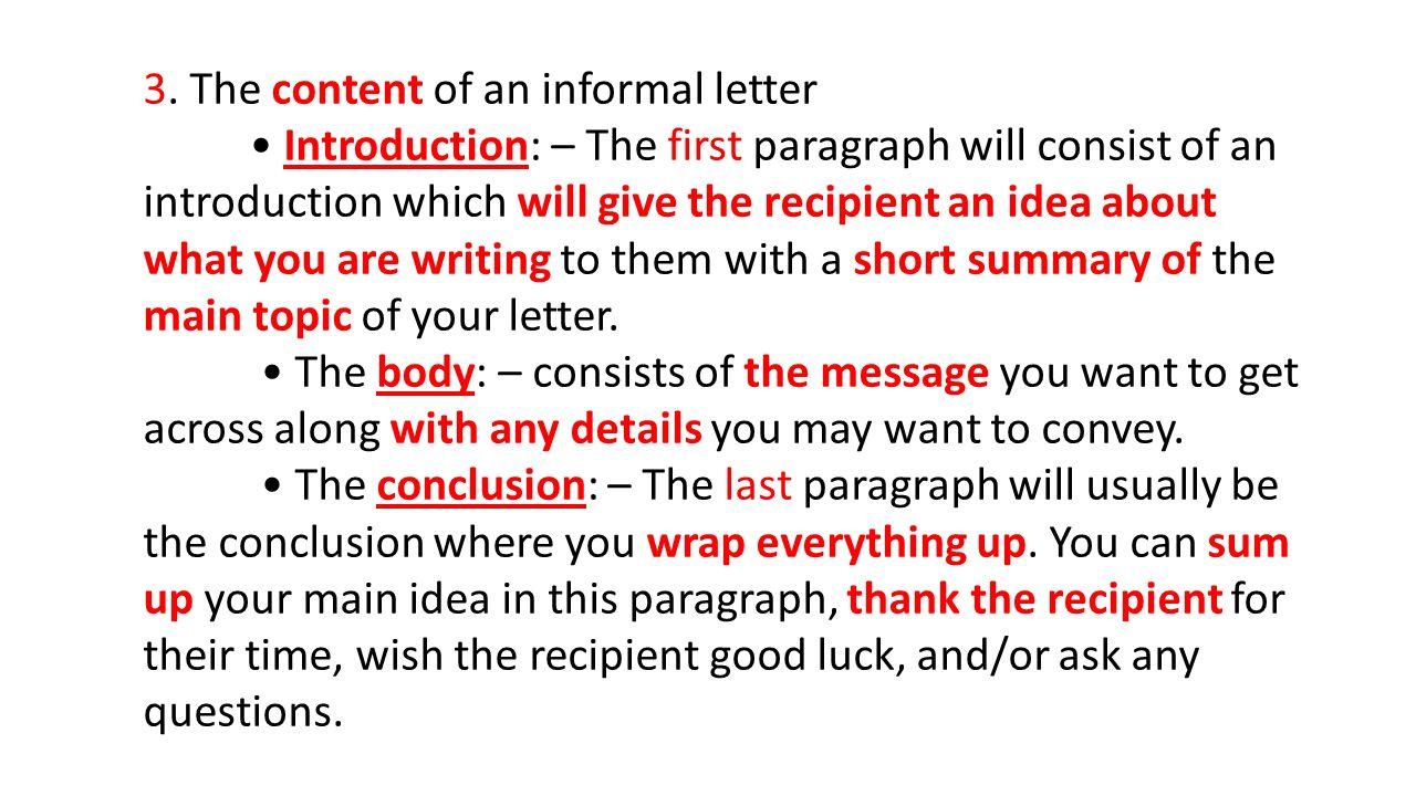 steps of writing an informal letter 1 2 3
