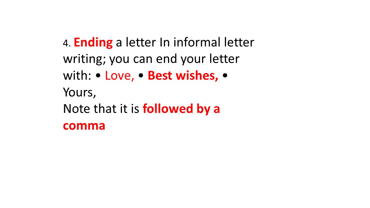 3 4 ending a letter in informal letter writing