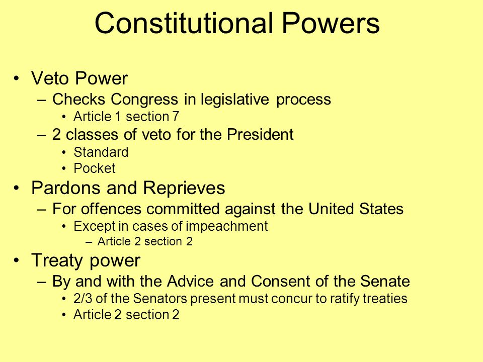 5 powers of the president