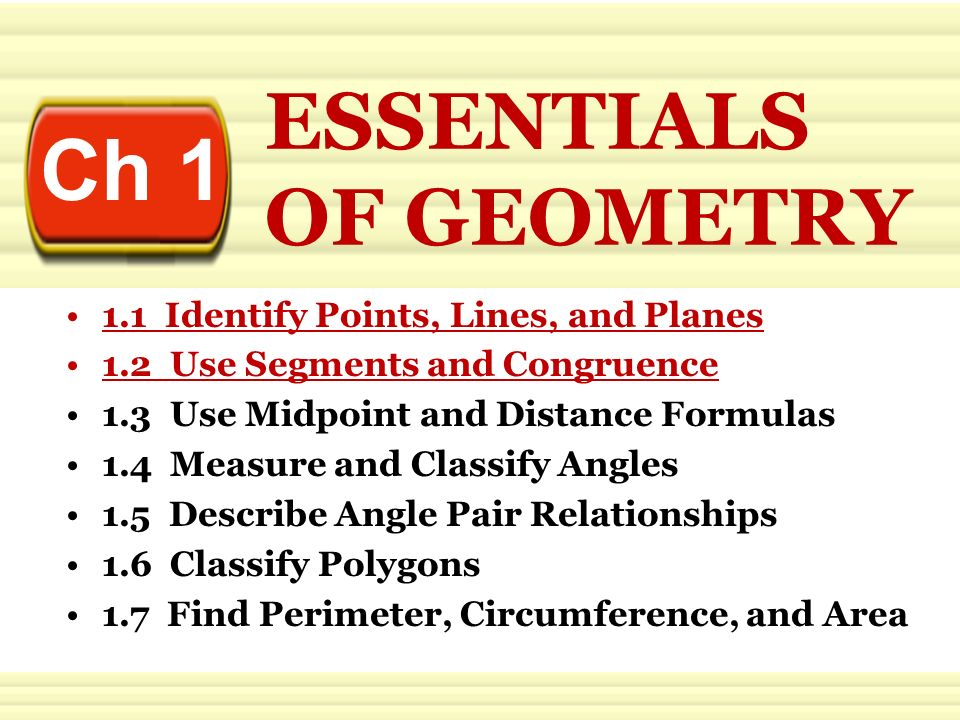 Ch 1 ESSENTIALS OF GEOMETRY 1 1 Identify Points, Lines, and