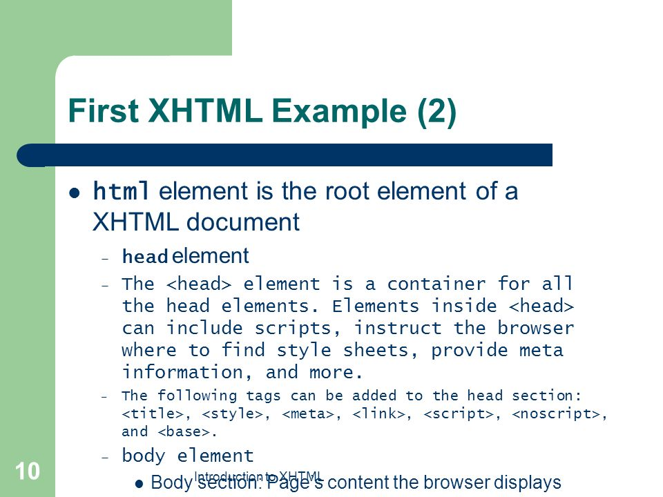 Introduction to XHTML 1 Chapter 4 Introduction to XHTML