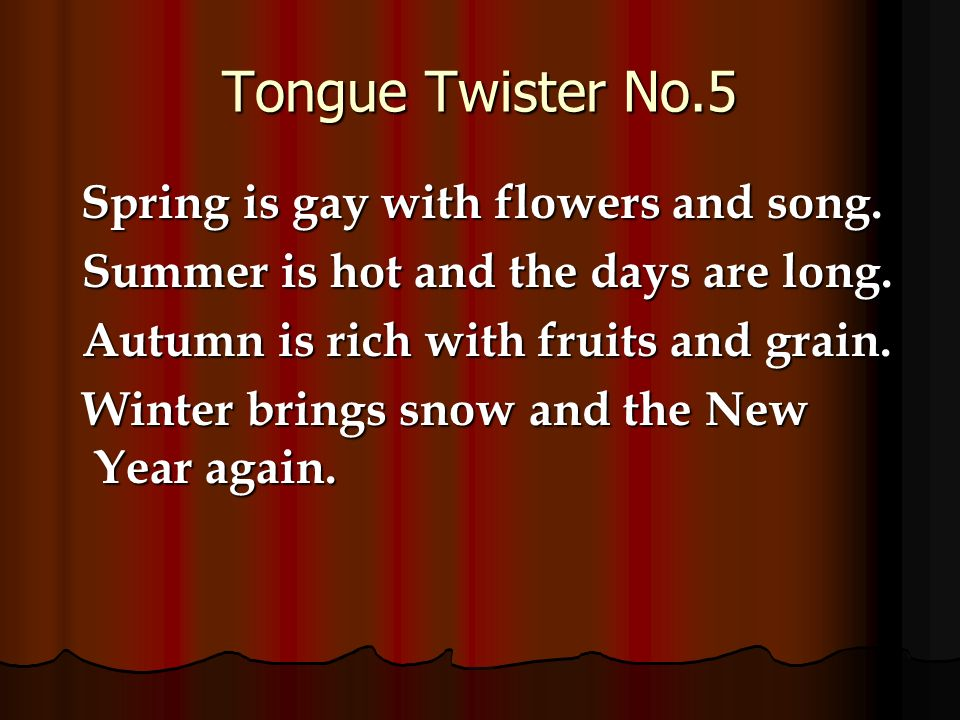Powerpoint activity 1 tongue twister practice tongue twisters tongue twister no5 spring is gay with flowers and song mightylinksfo
