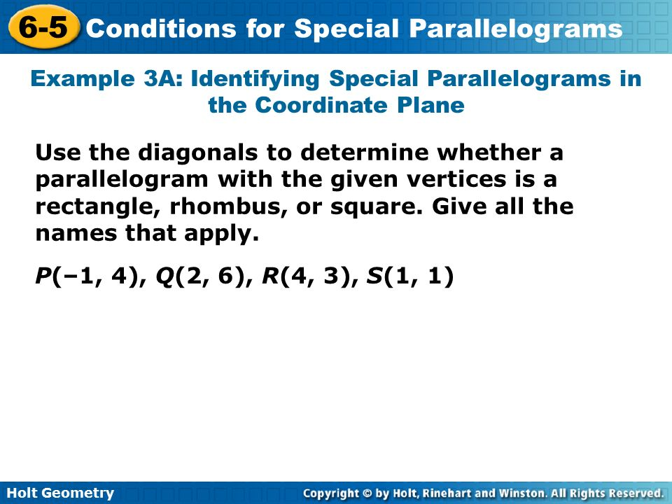 lesson 6-5 problem solving conditions for special parallelograms