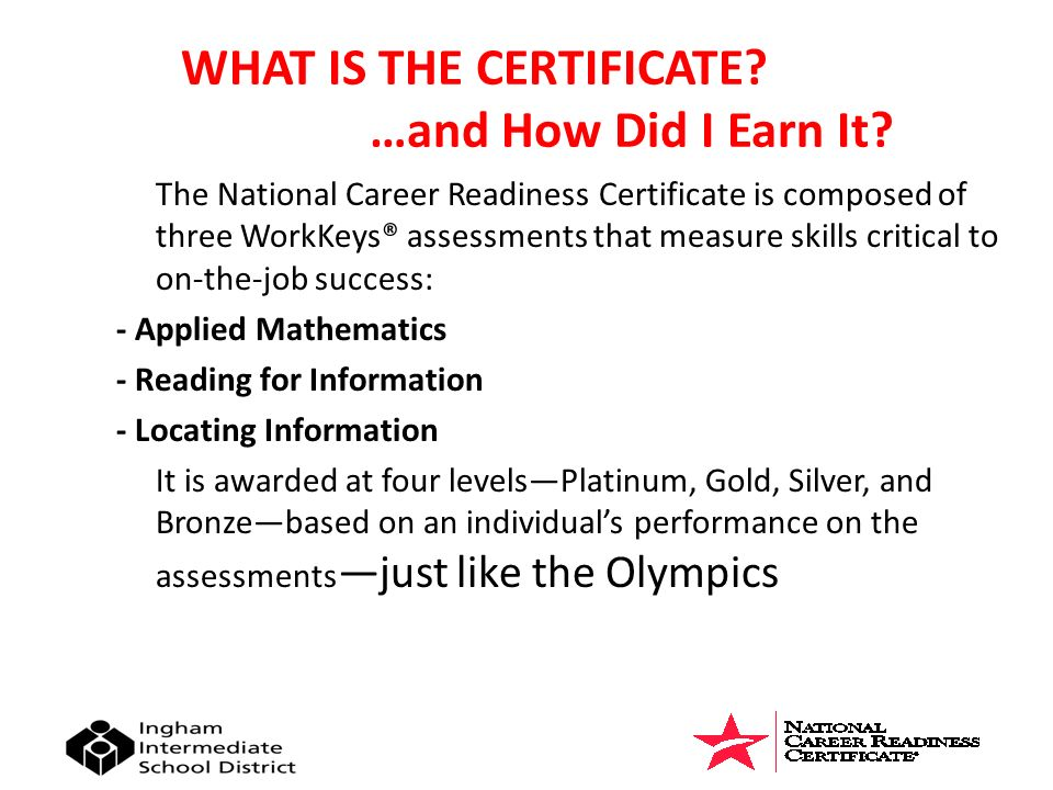 Congratulations ! You have earned a National Career Readiness ...