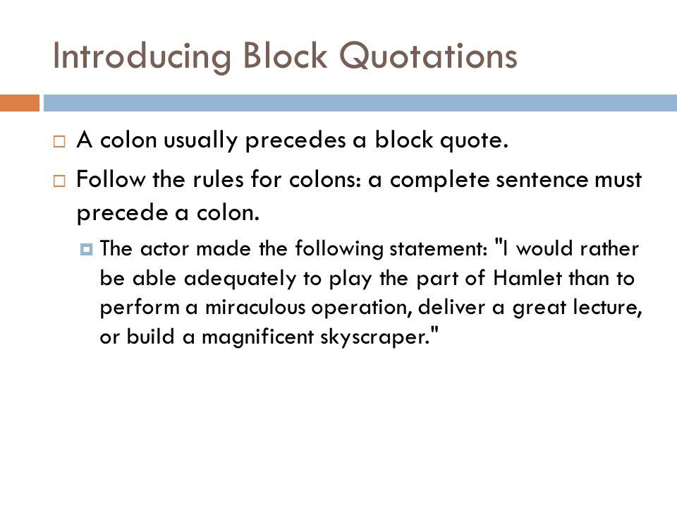 mla format block quotation