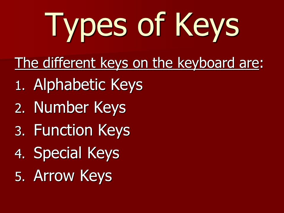 Chapter-4 THE KEYBOARD  Buttons on a keyboard are called