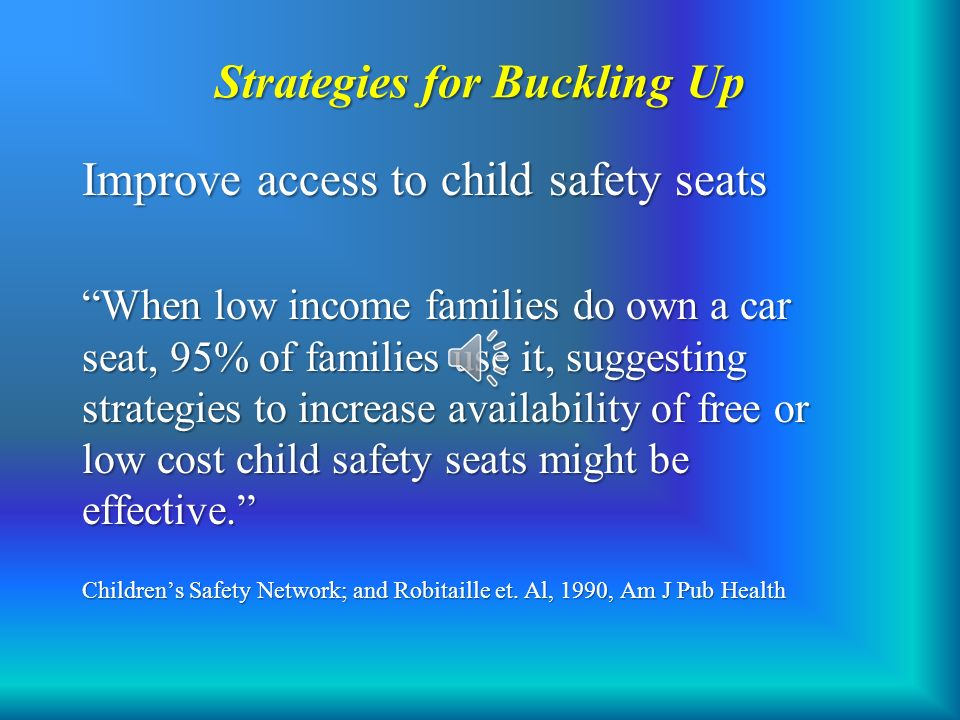 Strategies For Buckling Up Improve Access To Child Safety Seats When Low Income Families Do Own
