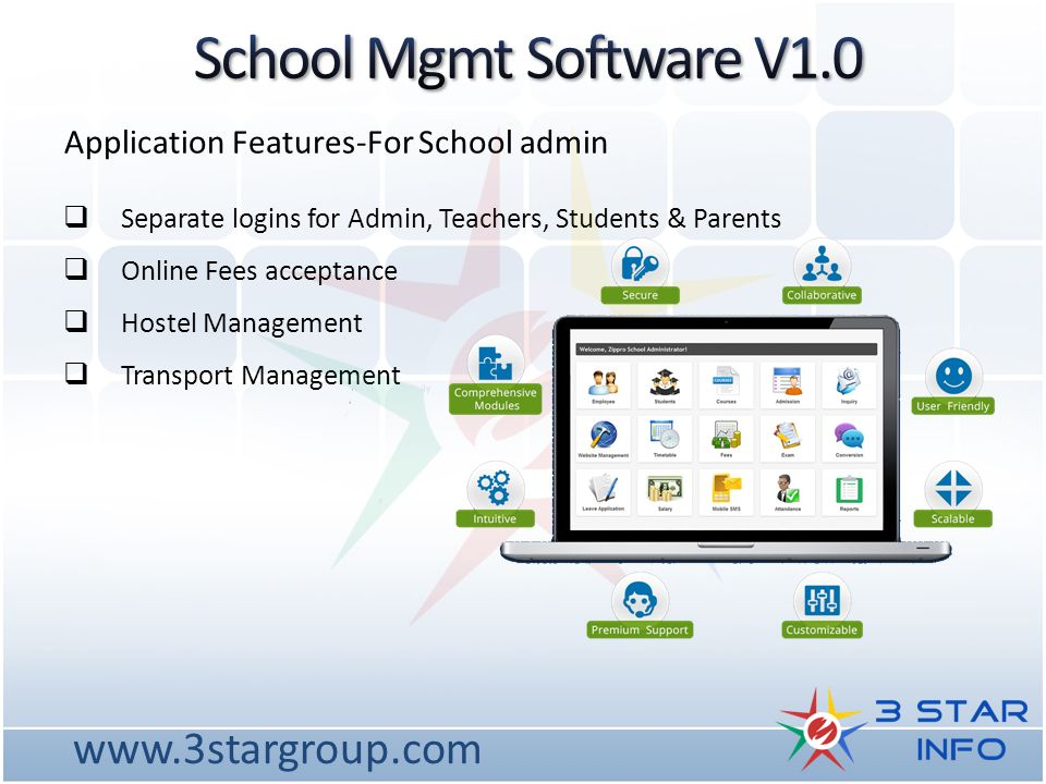 The latest school management software developed by 3 Star