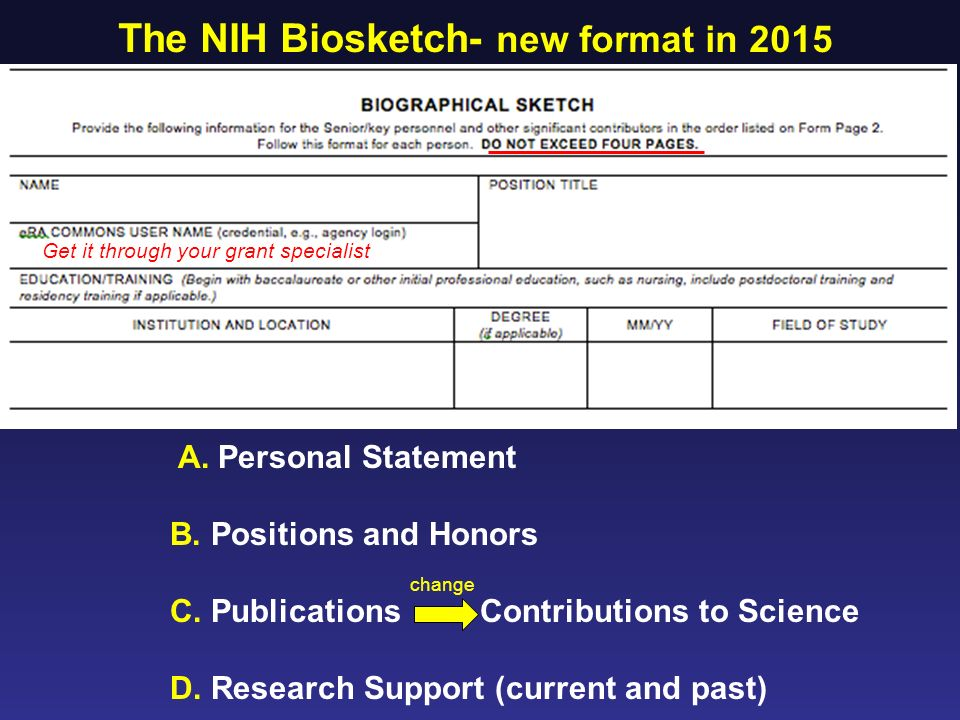The NIH Biosketch New Format In 2015 Cover A Personal Statement B