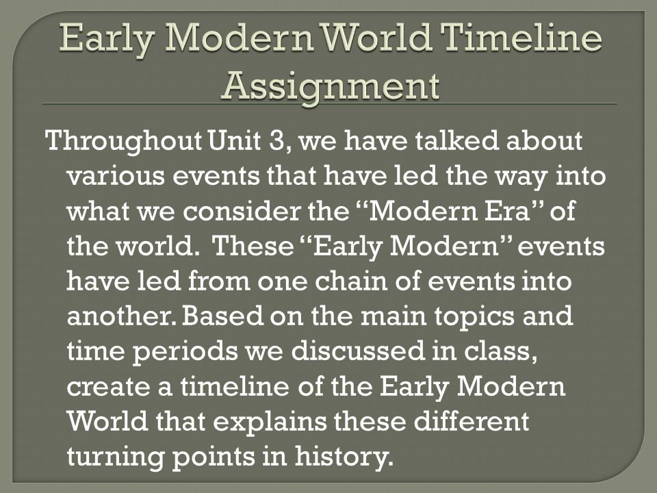 an overview of the early modern conceit era Modernity ascendant with tilly's defeat of the bohemians fighting for the winter king at white mountain, the impulse toward a mystical reconciliation was driven underground for the last time and the modern era, the era of the scientific rationalists and religious literalists, was ready to begin.