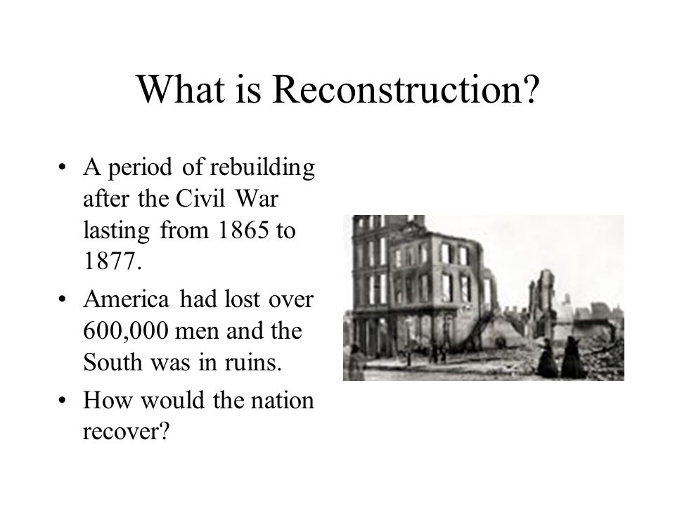 my own reconstruction plan after the civil Free essay: after the great battle of the american civil war was fought, and the north won, a bigger battle still had to take place reconstruction i will develop my own reconstruction policy for the united states after the american civil war, dealing with several critical points, and the overall.