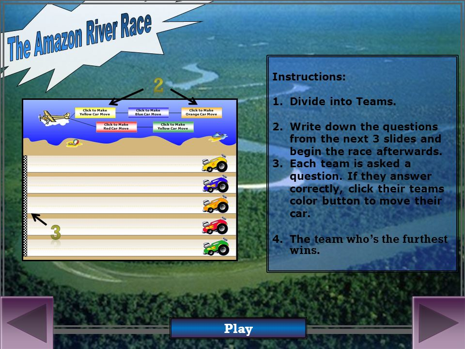 In the Racing Game of Knowledge Who will finish first Click Here to Start Cross the Amazon River