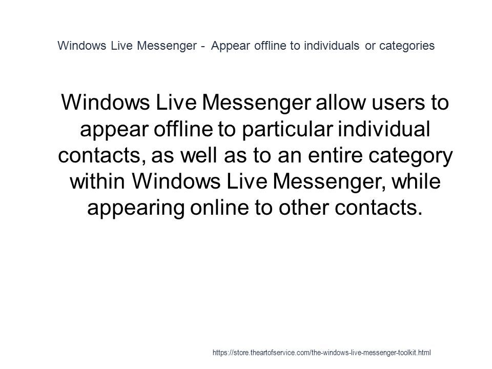 Windows Live Messenger - ppt download