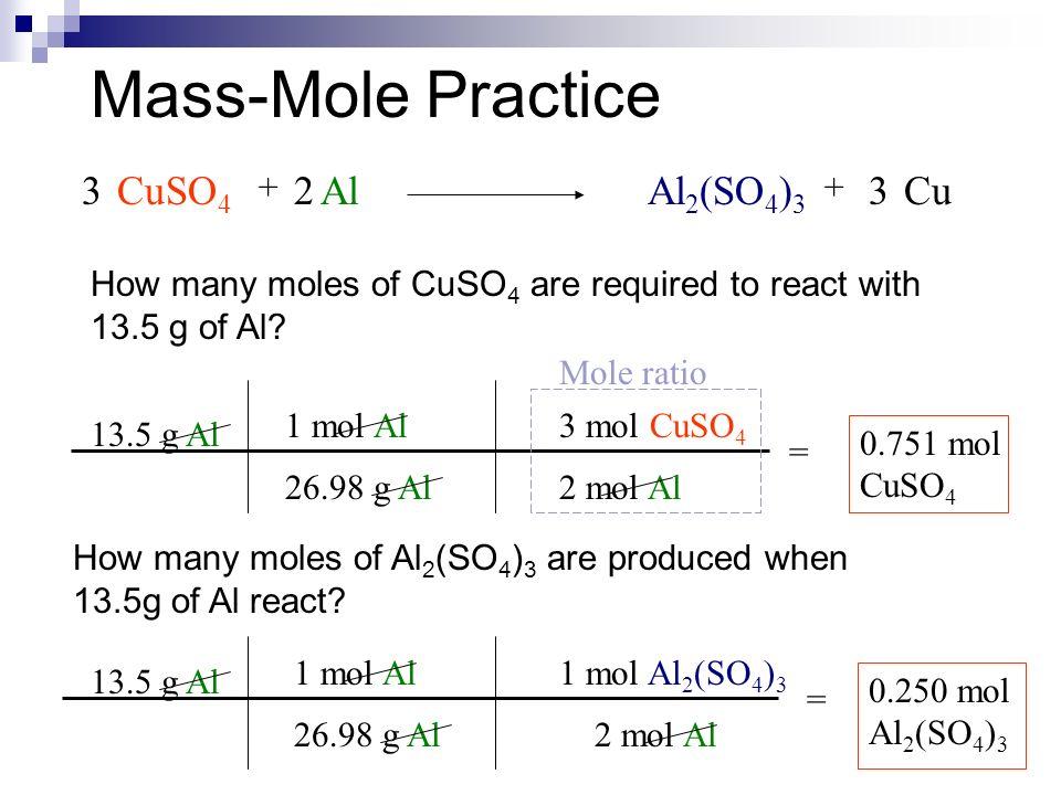 Stoichiometry Mole Mass Mass Mass Mass Mole Problems Step 1