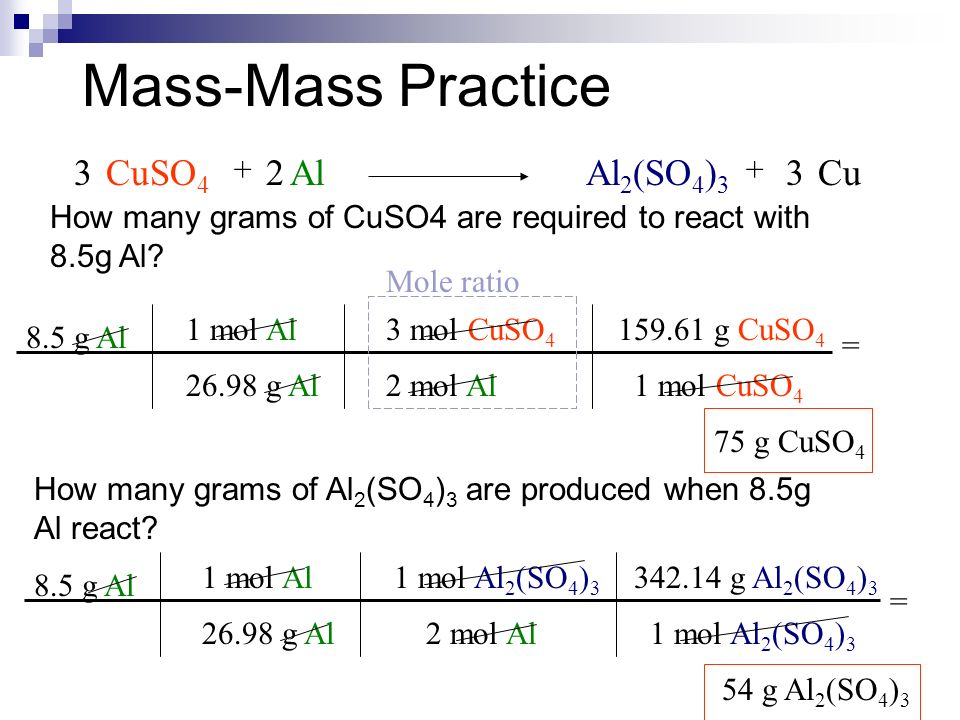 Mass-Mass Practice CuSO 4 AlAl 2 (SO 4 ) 3 Cu g Al 1 mol Al g Al = 75 g CuSO g Al 1 mol Al 2 (SO 4 ) 3 2 mol Al = 54 g Al 2 (SO 4 ) 3 Mole ratio 3 mol CuSO 4 2 mol Al 1 mol Al g Al 1 mol CuSO g Al 2 (SO 4 ) 3 1 mol Al 2 (SO 4 ) g CuSO 4 How many grams of CuSO4 are required to react with 8.5g Al.
