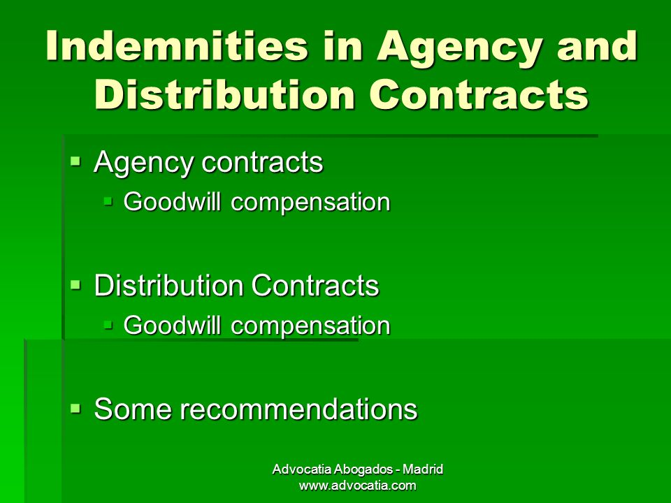 Advocatia Abogados Madrid Indemnities For Agents And Distributors