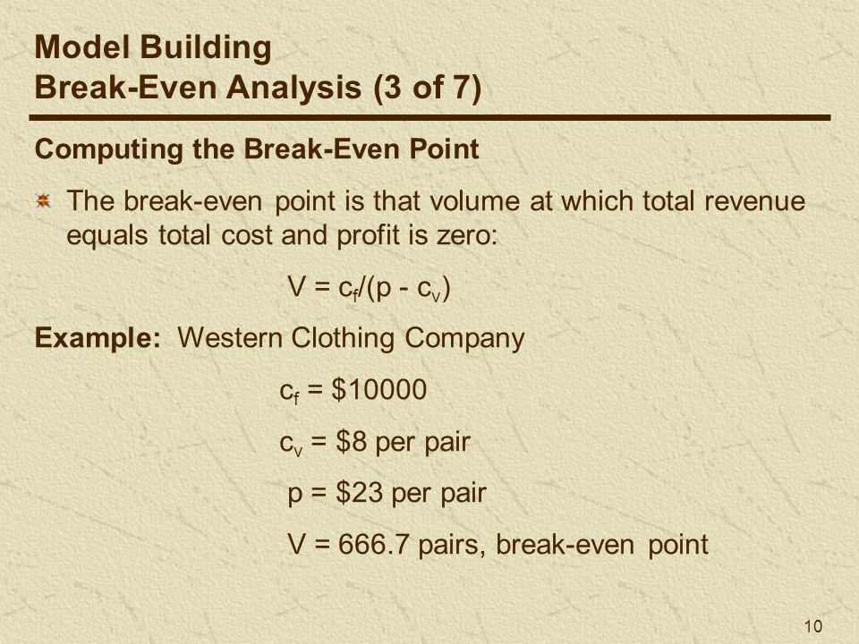 break even analysis example problems