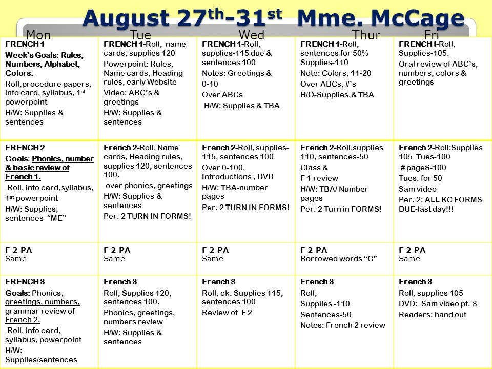 Mardi le 27 aot tuesday august 27 th french is a world language mccage french 1 weeks goals rules m4hsunfo