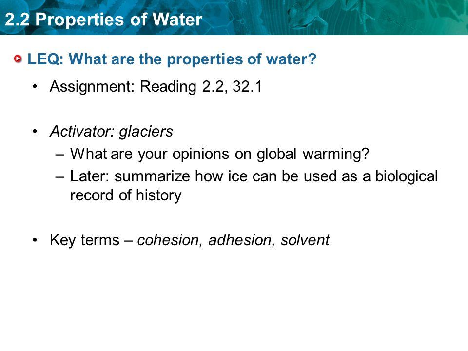 properties of water biology