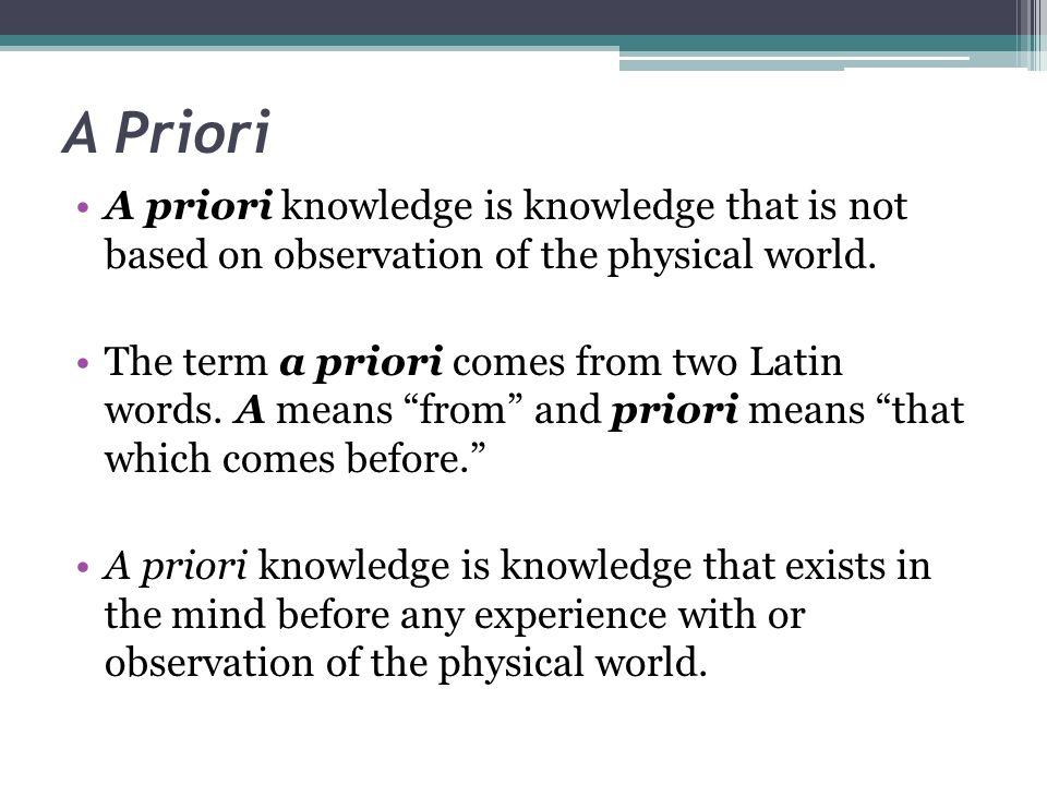A Priori Posteriori