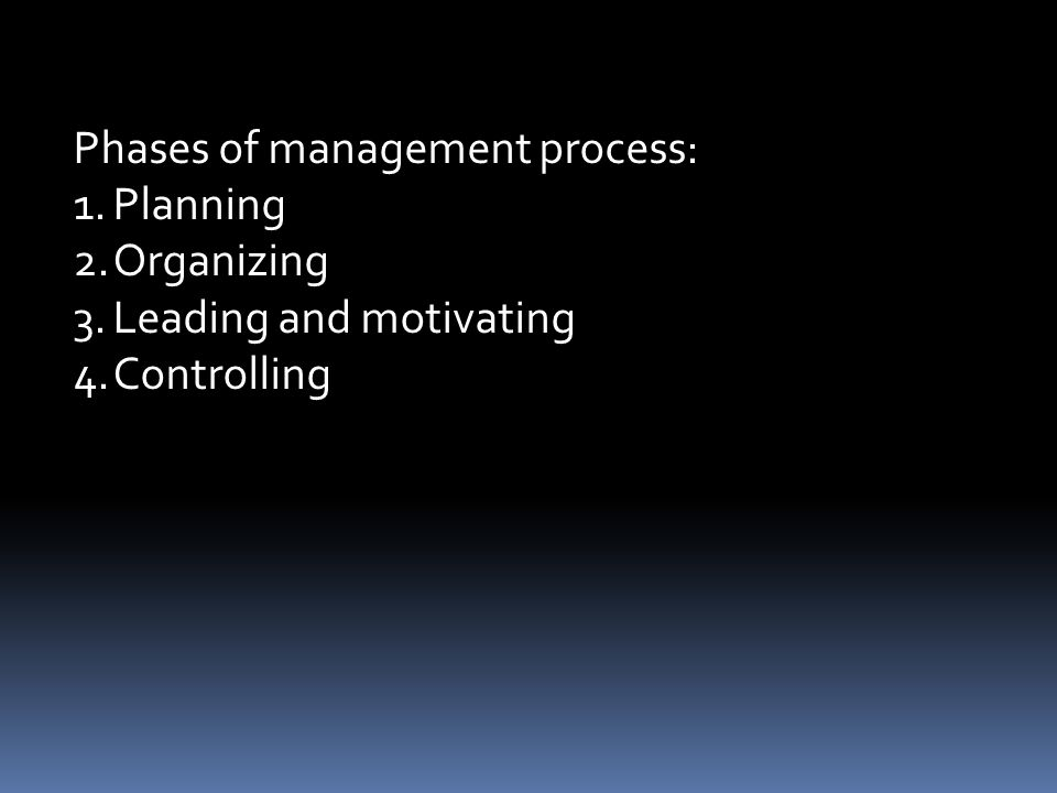 Phases of management process: 1.Planning 2.Organizing 3.Leading and motivating 4.Controlling