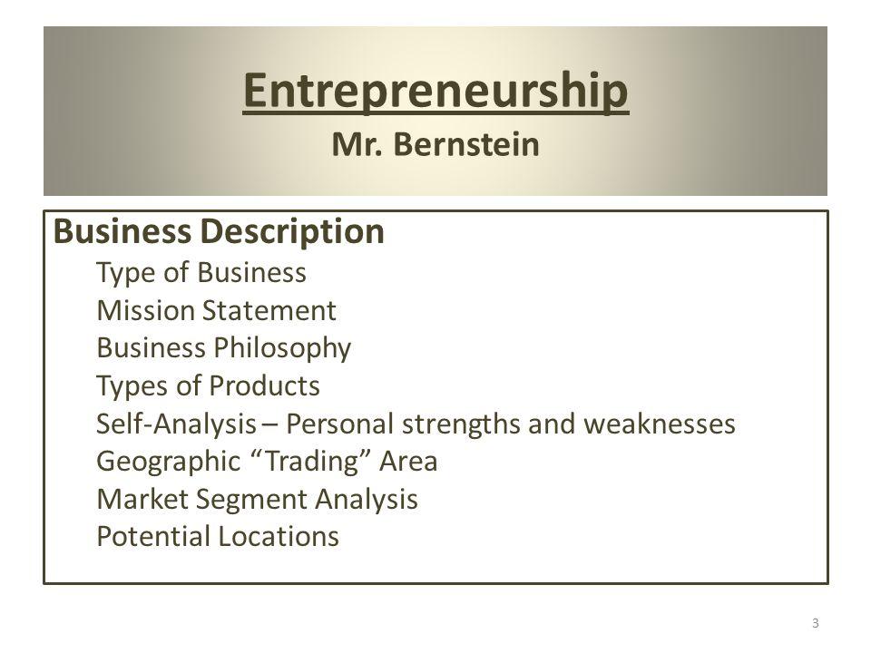 3 Entrepreneurship Mr Bernstein Business Description Type Of Mission Statement