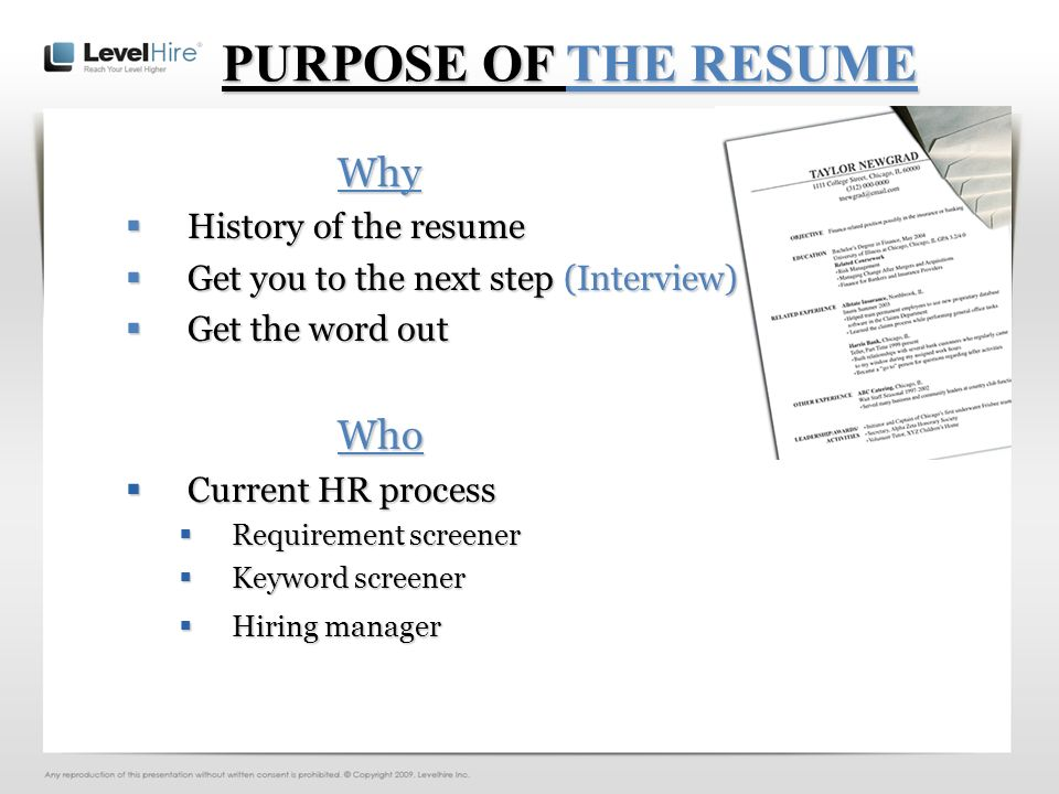EFFECTIVE RESUMES You On Paper First Impressions