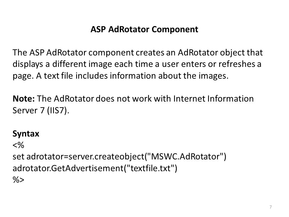 7 ASP AdRotator Component The Creates An Object That Displays A Different