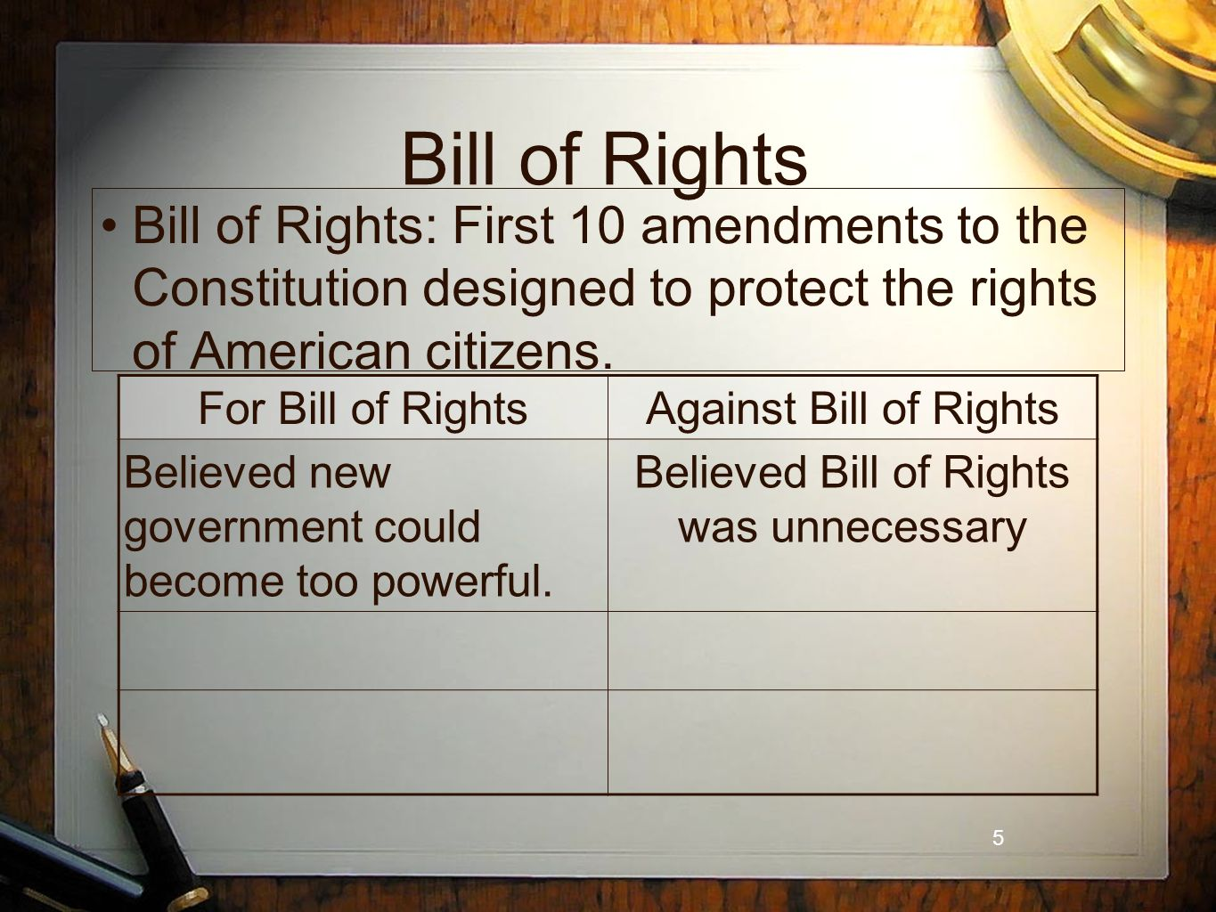 5 Bill of Rights Bill of Rights: First 10 amendments to the Constitution designed to protect the rights of American citizens.