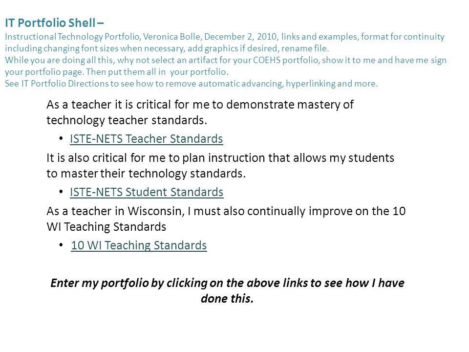 It Portfolio Shell Instructional Technology Portfolio Veronica
