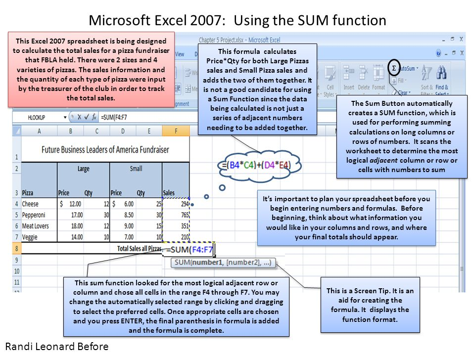 Microsoft excel 2007 using the sum function randi leonard before before the sum button automatically creates a sum function which is used for performing summing calculations on long columns or rows of numbers ibookread ePUb