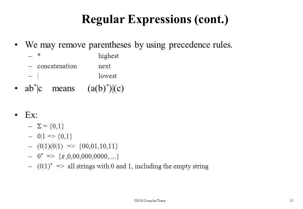 Lexical Analyzer CS308 Compiler Theory1  2 Lexical Analyzer