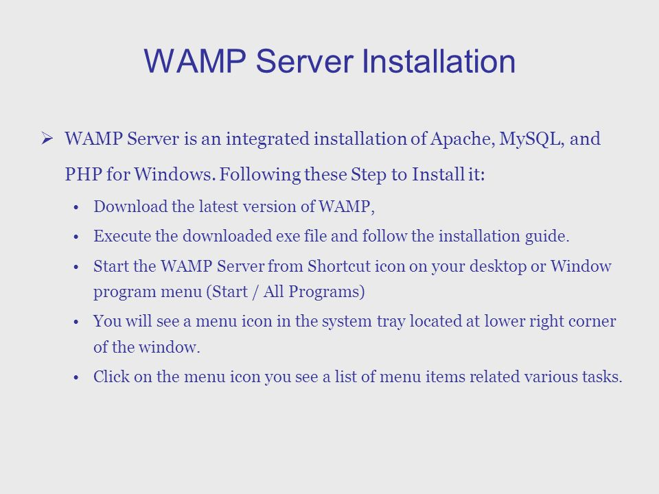WAMP Server Installatin Shiyun Wen  WAMP Server Installation