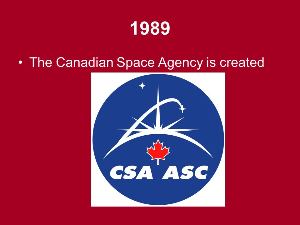 1989 The Canadian Space Agency is created