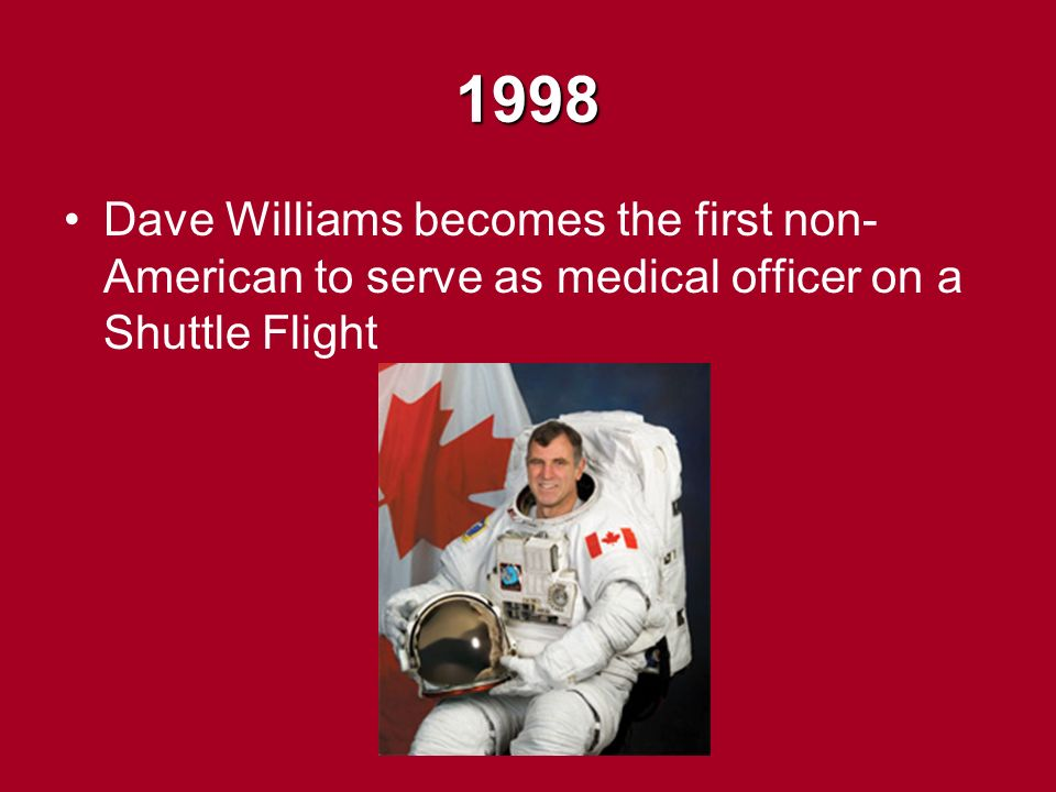 1998 Dave Williams becomes the first non- American to serve as medical officer on a Shuttle Flight