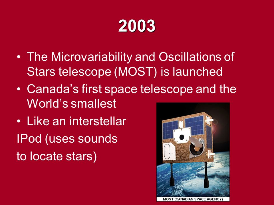 2003 The Microvariability and Oscillations of Stars telescope (MOST) is launched Canada's first space telescope and the World's smallest Like an interstellar IPod (uses sounds to locate stars)