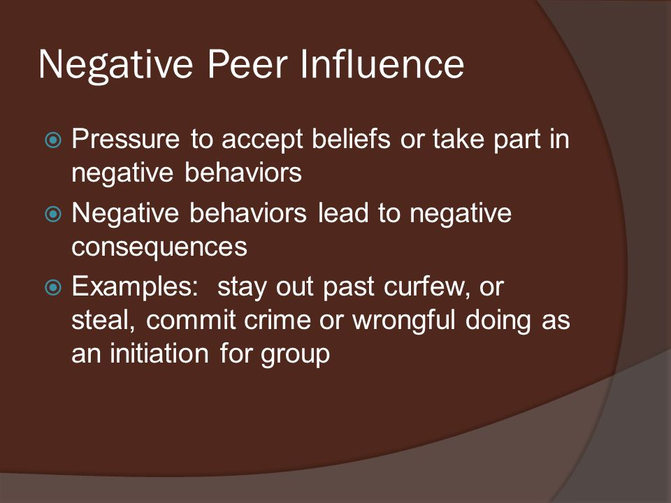 peer influence essay Dealing with peer pressure (essay example) one can define peer pressure as an influence that peers exert on an individual's values, attitudes, and behaviors a person feels forced to conform to the expectations of a group of peers to fit in or to be accepted by this group.