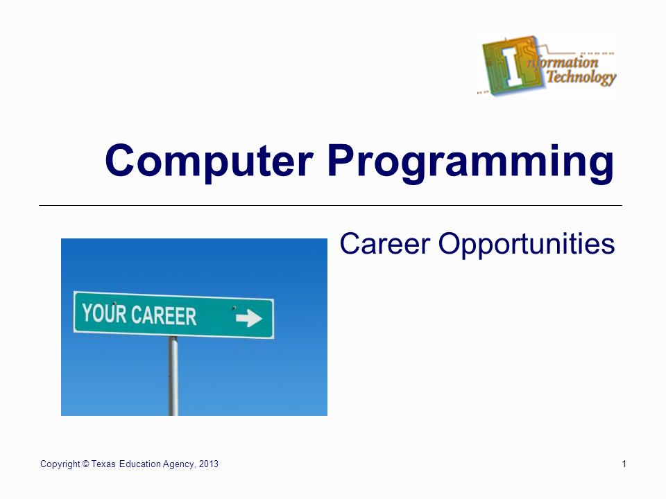 1 copyright texas education agency 20131 computer programming career opportunities