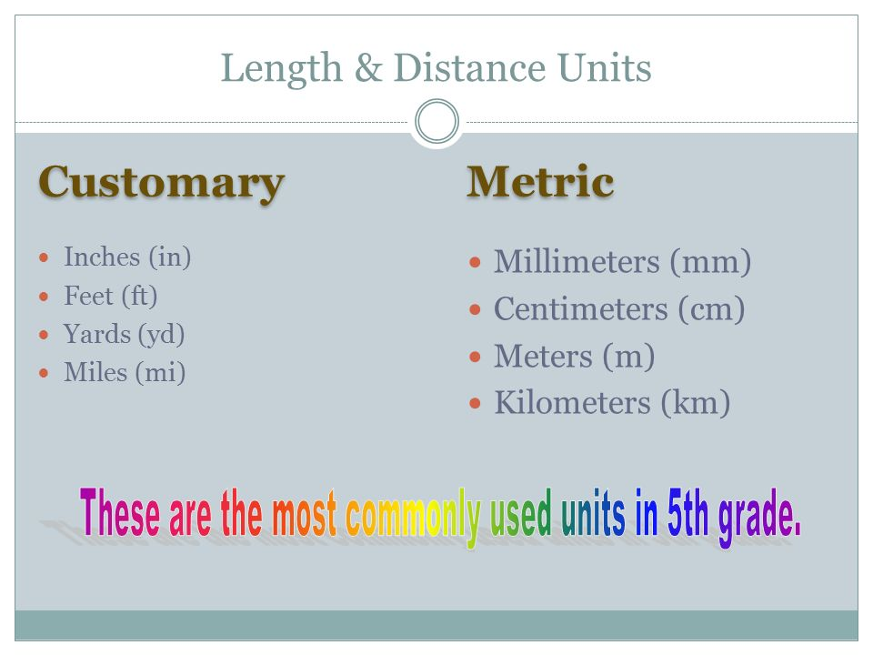 2 Customary Metric Inches In Feet Ft Yards Yd Miles Mi Millimeters Mm Centimeters Cm Meters M Kilometers Km Length Distance Units