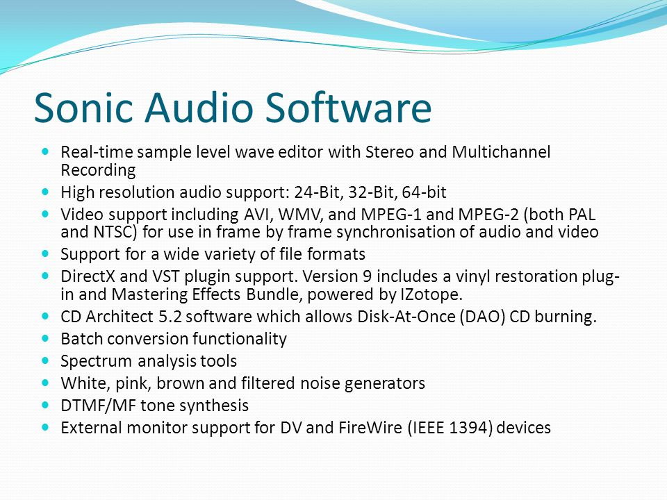 Russell Taylor  Audio File Formats There are three major