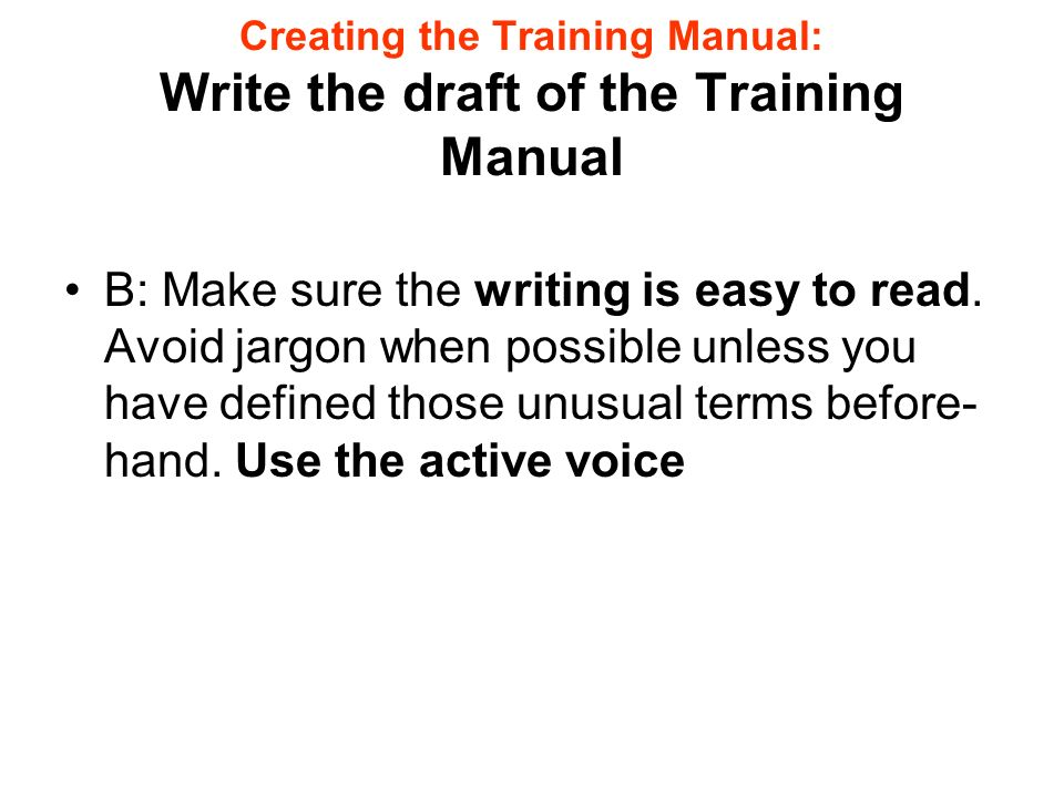 how to create effective training manuals background information