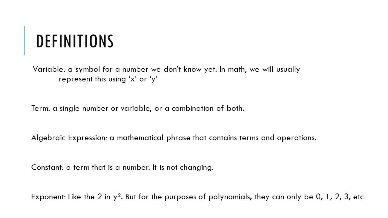 Polynomials What Is A Polynomial An Algebraic Expression That