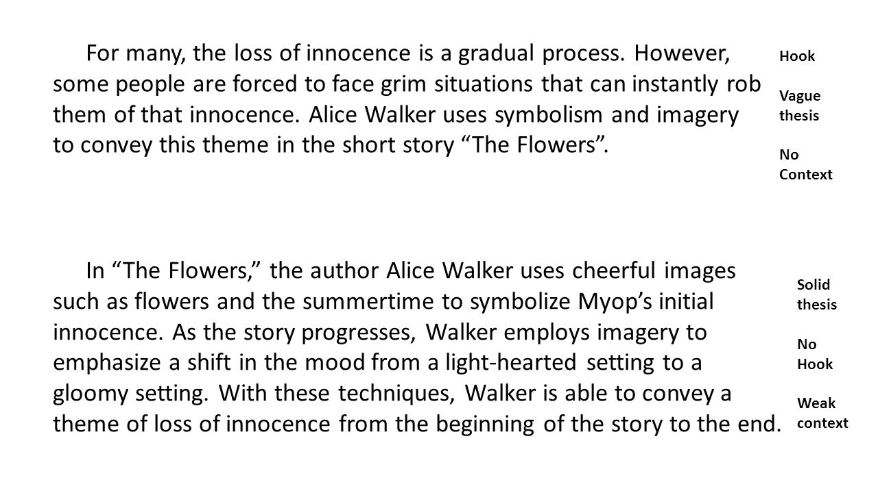 the flowers by alice walker setting