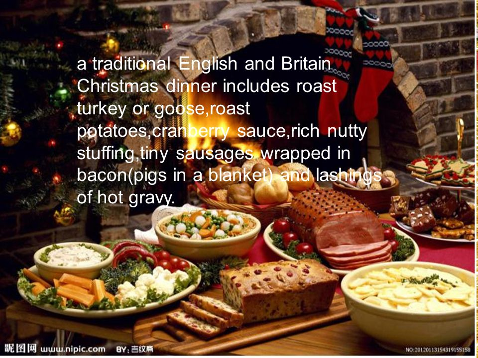 Traditional English Christmas Dinner.The Christmas Dinner Is The Main Christmas Meal And Is
