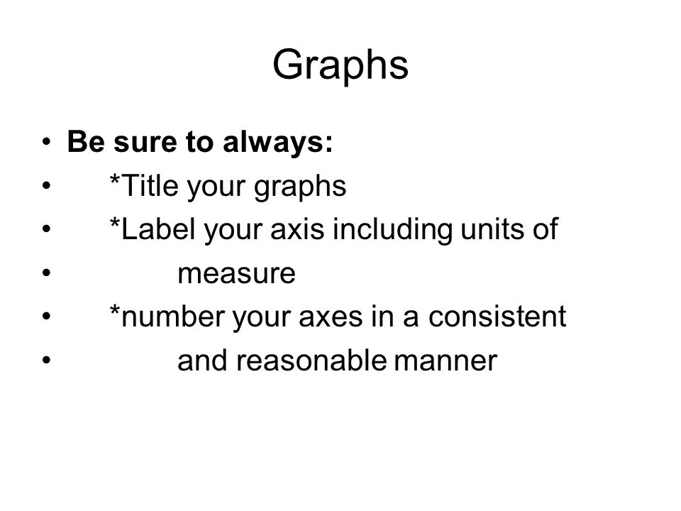 Graphs Be sure to always: *Title your graphs *Label your axis including units of measure *number your axes in a consistent and reasonable manner